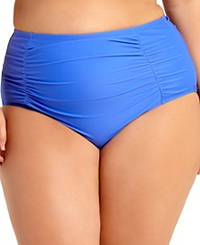 Trendy Plus Size Ruched Tummy-Control High-Waist Bikini Bottoms, Created for Macy's