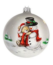 "Hand Painted Santa And Puppy European Mouth Blown Hand Decorated 4"" Round Holiday Ornament"