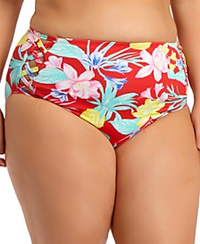 Trendy Plus Size High-Waist Bikini Bottoms, Created For Macy's