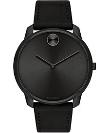 Men's Swiss BOLD Black Leather Strap Watch, 42mm