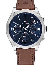 Men's Chronograph Brown Leather Strap Watch 44mm, Created for Macy's