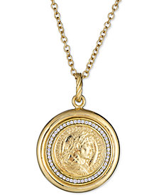 """Diamond Coin Pendant Necklace (1/4 ct. t.w.) in Sterling Silver & 18k Gold-Plate, 18"""" + 2"""" extender"""