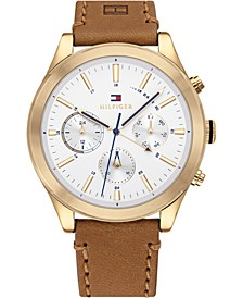 Men's Chronograph Tan Leather Strap Watch 44mm, Created for Macy's