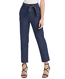 Belted High-Waist Denim Pants
