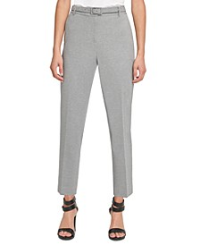 Petite Belted Straight-Leg Dress Pants