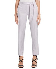 Petite Striped Tie-Waist Straight-Leg Dress Pants