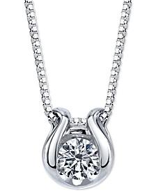 "Diamond Horseshoe 18"" Pendant Necklace (1/2 ct. t.w.) in 14k White Gold"