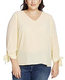 Plus Size Tie-Sleeve V-Neck Top