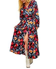 Christine Long Sleeve Floral Maxi Shirt Dress
