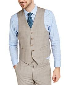 Men's Classic-Fit UltraFlex Stretch Tan Plaid Suit Vest