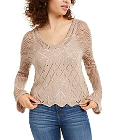 Juniors' Pointelle-Knit Pullover Sweater