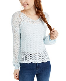 Juniors' Pointelle-Knit Strap-Back Sweater