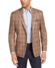 Men's Classic-Fit UltraFlex Stretch Gold/Blue Plaid Sport Coat