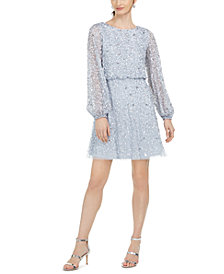 Adrianna Papell Beaded Fit & Flare Cocktail Dress
