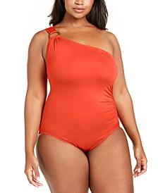 Plus Size One-Shoulder One-Piece Swimsuit