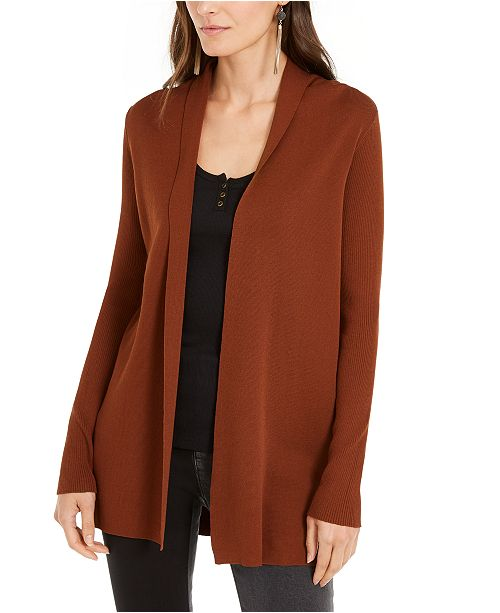 INC International Concepts INC Slick Yarn Open-Front Completer Cardigan, Created For Macy's
