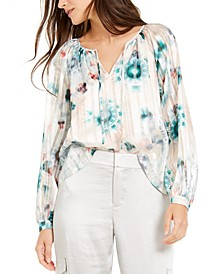 INC Tie-Dyed Peasant Top, Created for Macy's