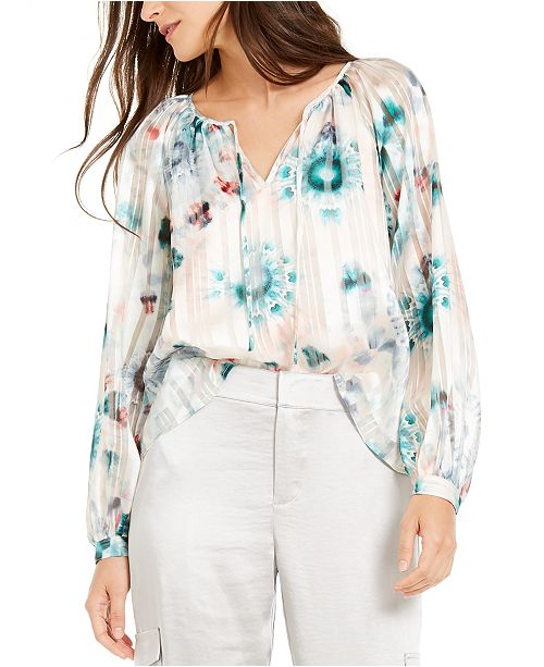 INC International Concepts INC Tie-Dyed Peasant Top, Created For Macy's