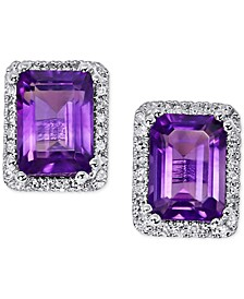 Amethyst (1-1/2 ct. t.w.) & Diamond (1/6 ct. t.w.) Stud Earrings in 14k White Gold (Also available in London Blue Topaz)