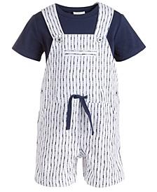 Baby Boys 2-Pc. T-Shirt & Shibori Striped Shortalls Set, Created for Macy's