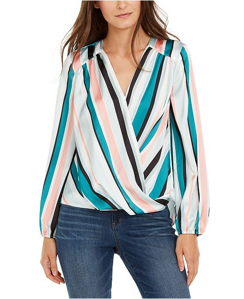 INC International Concepts INC Striped Surplice Top, Created for Macy's