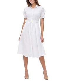 Eyelet Belted Shirtdress