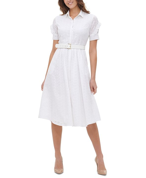 Tommy Hilfiger Eyelet Belted Shirtdress