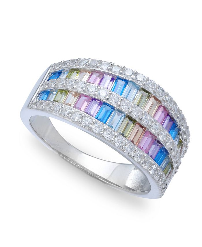 Macy's - Cubic Zirconia Triple-Row Baguette Ring (2-1/8 ct. t.w) In Sterling Silver
