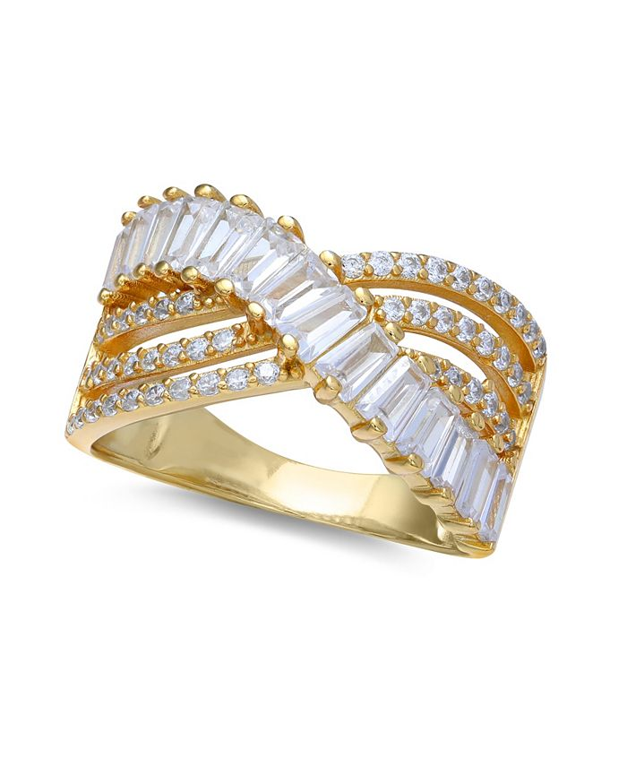 Macy's - Cubic Zirconia Triple Row Baguette Pave Crossover ring (3 cttw) in Sterling Silver or 18K Gold over Sterling Silver