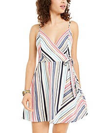 Juniors' Striped Surplice Wrap Dress