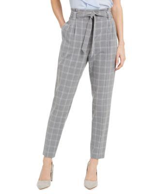 Slim-Fit Belted Windowpane Pants