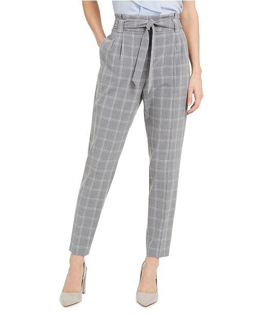 Calvin Klein Slim-Fit Belted Windowpane Pants