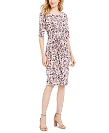 Ruched Printed Sheath Dress