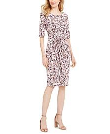 Ruched Printed Sheath Dress