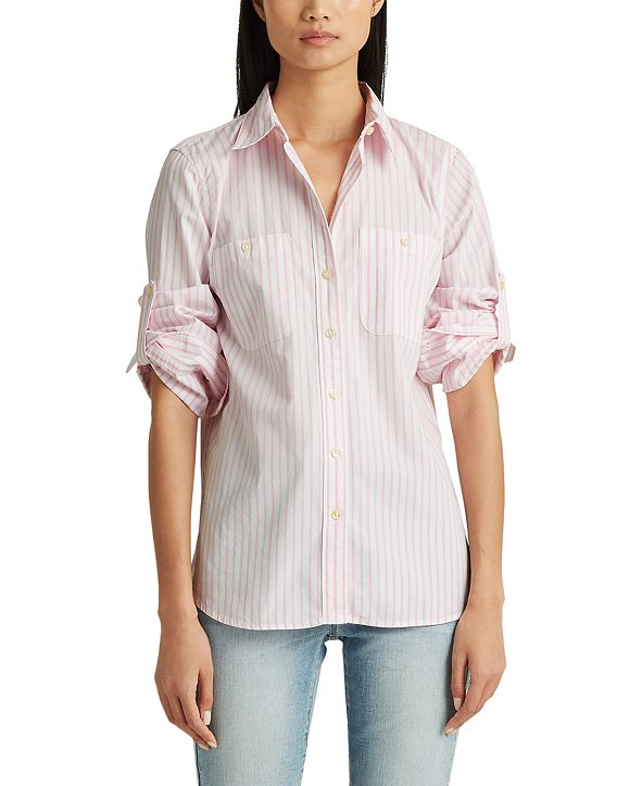 Lauren Ralph Lauren Striped Roll Tab Cotton Pocket Shirt