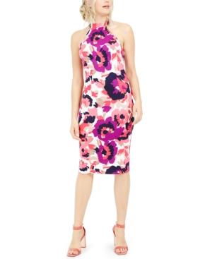 Trina Trina Turk Emotion Printed Halter Sheath Dress