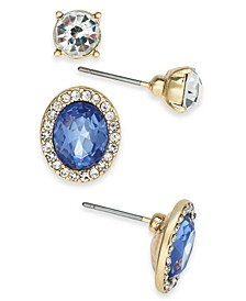 Gold-Tone 2-Pc. Set Crystal & Stone Stud Earrings, Created for Macy's