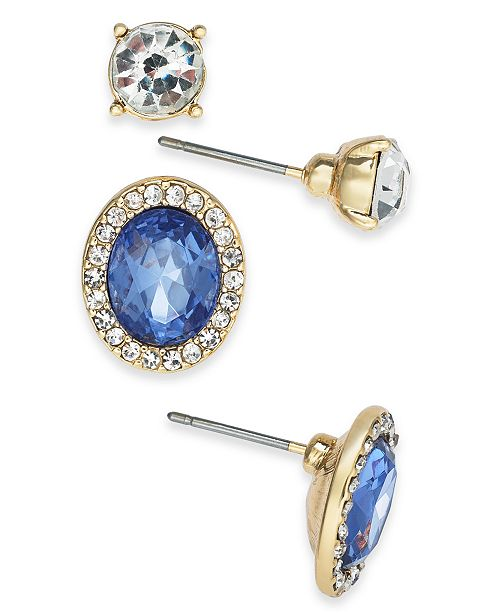 Charter Club Gold-Tone 2-Pc. Set Crystal & Stone Stud Earrings, Created For Macy's