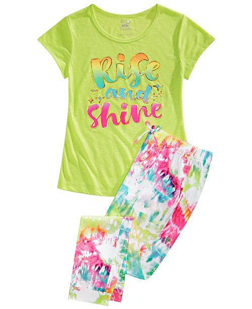 Max & Olivia Big Girls 2-Pc. Rise & Shine Pajamas Set