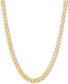 "Flat Curb Link 22"" Chain Necklace in 18k Gold-Plated Sterling Silver"