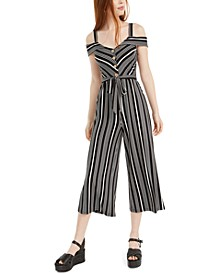 Juniors' Striped Off-The-Shoulder Jumpsuit
