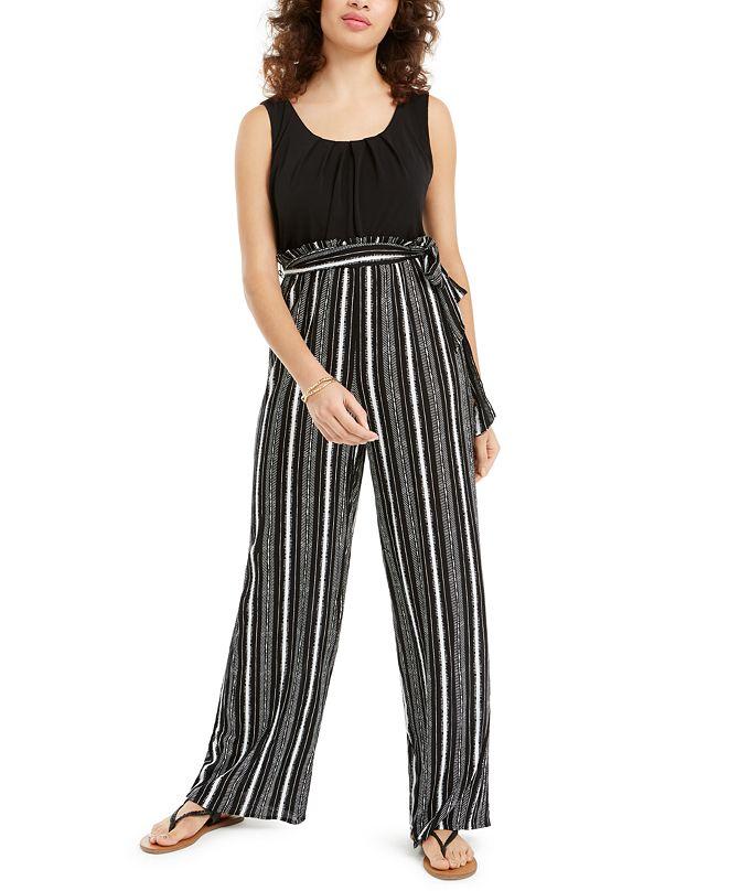 BCX Juniors' Striped Paperbag Waist Jumpsuit