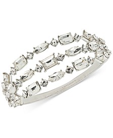 Silver-Tone Crystal Triple-Row Bangle Bracelet