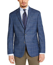 Men's Slim-Fit Stretch Blue & Tan Windowpane Sport Coat, Created for Macy's