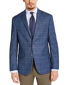 Men's Slim-Fit Stretch Blue & Tan Windowpane Sport Coat, Created for Macy's