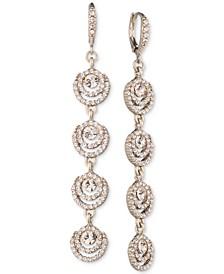 Gold-Tone Crystal Halo Linear Drop Earrings