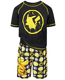 Little Boys 2-Pc. Pikachu Rash Guard & Swim Trunks Set