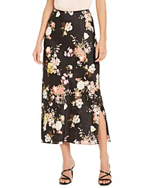 Floral-Print Side-Slit Maxi Skirt