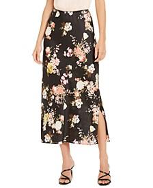 Floral-Print Side-Slit Maxi Skirt
