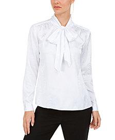 Calvin Klein Moire Tie-Neck Blouse